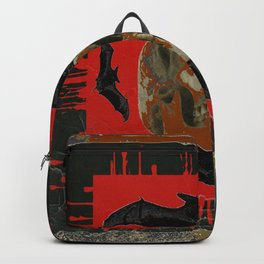 GRUNGY HALLOWEEN BAT INFESTED HAUNTED SKULL Backpack