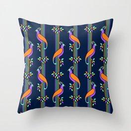 Vintage Art Deco Birds and Stripes Pattern Throw Pillow