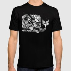 Patchwork Whale MEDIUM Black Mens Fitted Tee
