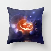 pumpkin Throw Pillows featuring Pumpkin by apofiss
