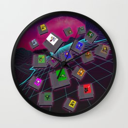 Retro 80s Synthwave Game Cartridge Collage Wall Clock