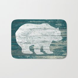 Rustic White Bear on Blue Wood Lodge Art A231b Bath Mat