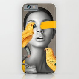 Girl with Parrots iPhone Case