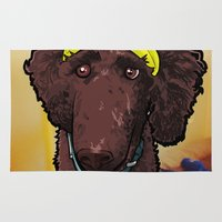 hobbes Area & Throw Rugs featuring Hobbes (poodle) by BinaryGod.com