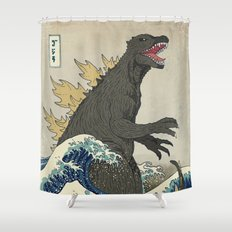 The Great Godzilla off Kanagawa Shower Curtain