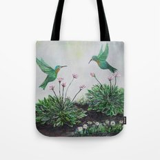 Hummingbirds and Hostas Tote Bag