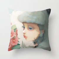et Throw Pillows featuring Pensees et roses tremieres by Ludovic Jacqz