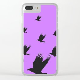 FLYING FLOCK BLACK CROWS/RAVENS ON LILAC COLOR Clear iPhone Case