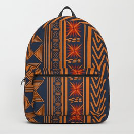 Boho Mudcloth (Blue, Gold, Persimmon) Backpack