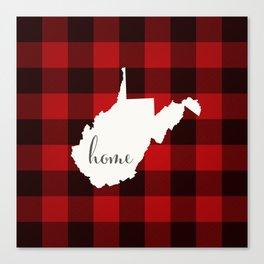 West Virginia is Home - Buffalo Check Plaid Canvas Print