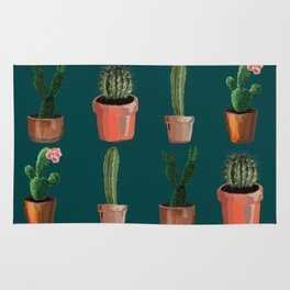 Various Cacti Green Rug