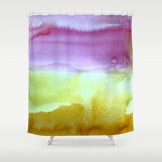 abstract watercolor painting purples greens mustard yellow home goods shower curtain