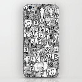 animal ABC black white iPhone Skin