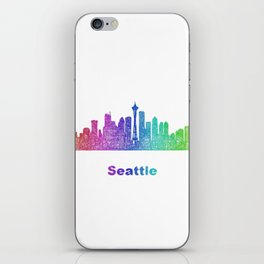 Rainbow Seattle skyline iPhone Skin