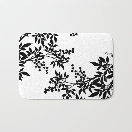 Black And White Toile Rug: TREE BLACK AND WHITE LEAF TOILE PATTERN Bath Mat By