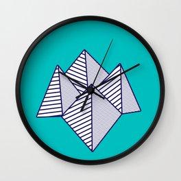 Paku Paku, navy lines on turquoise Wall Clock