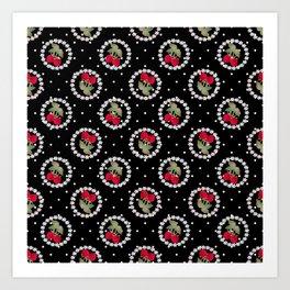 Floral pattern retro . Strawberry. Art Print