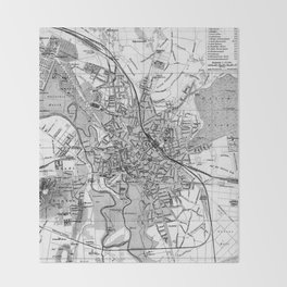 Vintage Map of Hanover Germany (1895) BW Throw Blanket