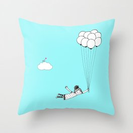 Hand Drawn Girl Flying With Balloons Throw Pillow