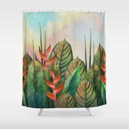 Red Heliconia Flowers Shower Curtain