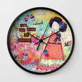 'She was a Ray of Sunshine' by Jolene Ejmont Wall Clock