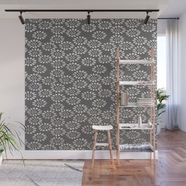 Japanese decorative background with openwork flowers in ocher tones Wall Mural