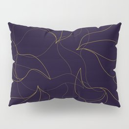 Abstract fine line waves - black and gold Pillow Sham