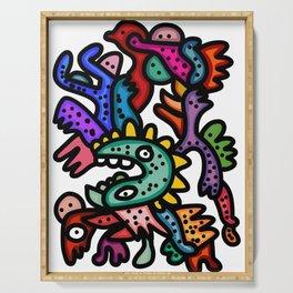 Cool Aztec Creatures Street Art  Serving Tray