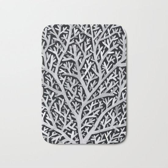 Fan Coral – White Ink on Black Bath Mat