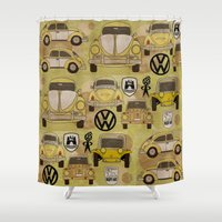 volkswagen Shower Curtains featuring Volkswagen Type 1 Family by Dre Murray