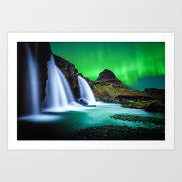 Aurora Borealis Waterfall Art Print