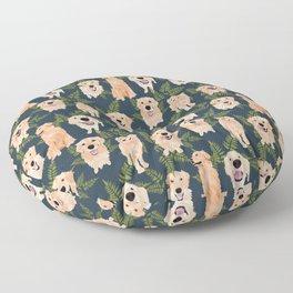 Golden Retrievers and Ferns on Navy Floor Pillow