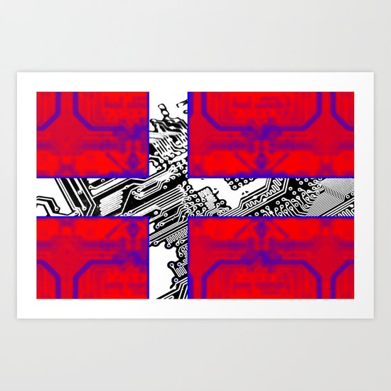 circuit board Flag (Denmark) Art Print