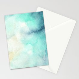 Indigo Turquoise Watercolor Abstract Painting Stationery Cards