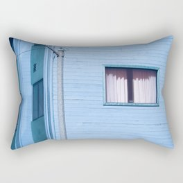 vintage blue wood building with window and electric pole Rectangular Pillow