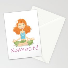 Smiling Girl practising Yoga Lotus Pose Stationery Cards