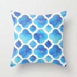 Watercolor Moroccan Quatrefoil Clover Trellis in Turquoise Sea Throw Pillow