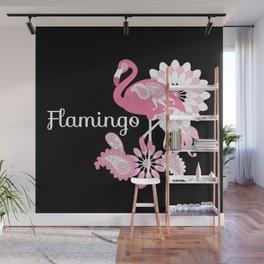 Pink Flamingo Cool Cute Black Wall Mural