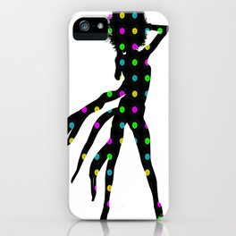 Disco dancing girl silhouette with an Afro hairstyle iPhone Case