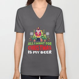 Christmas and Beer - Santa Claus, beer Unisex V-Neck