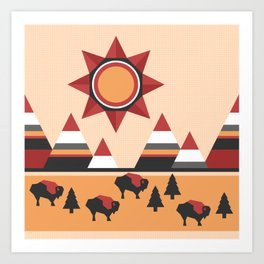Sun, mountains and buffaloes - native Indian style landscape Art Print