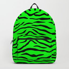 Bright Neon Green and Black Tiger Stripes Backpack