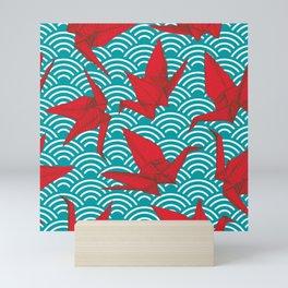 Origami red paper cranes sketch. burgundy maroon line Nature oriental Mini Art Print