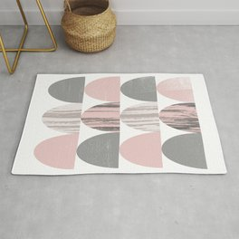 Pink and Grey Geometric Abstract Scallop Pattern Rug