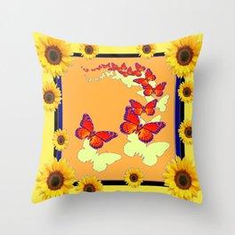 Monarch Butterflies Sunflowers Cumin Color & Yellow Art Throw Pillow