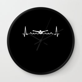 Swimming Heartbeat Gift for Swimmer Wall Clock