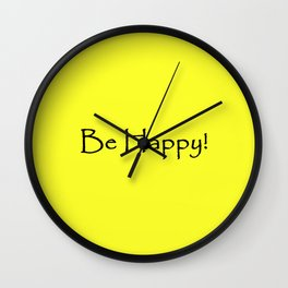 Be Happy - Black and Yellow Design Wall Clock