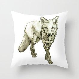 Fox Drawing Throw Pillow