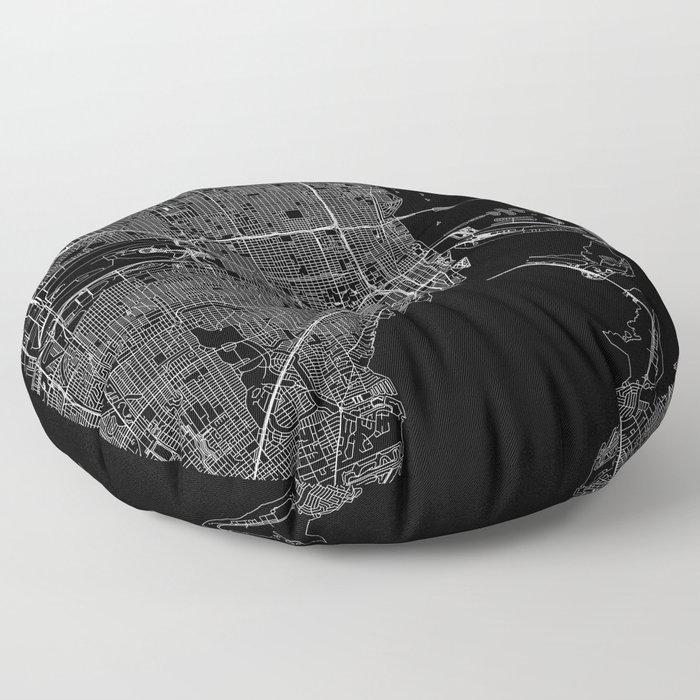 Miami Black Map Floor Pillow