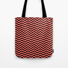 Chevron Effect in living coral and black Tote Bag